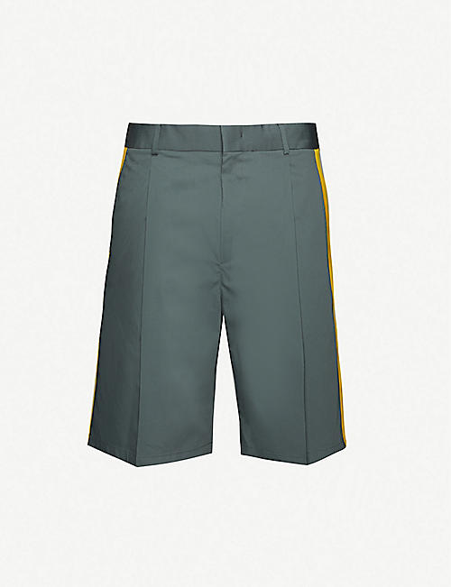 VALENTINO: Contrast-panel cotton-blend shorts