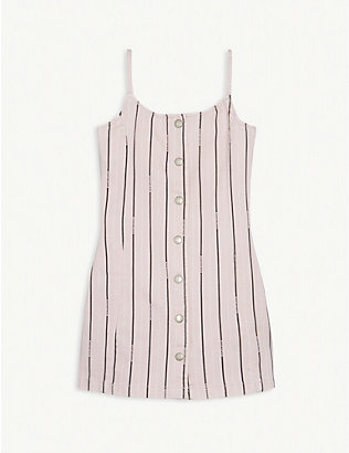 CALVIN KLEIN JEANS: Pinstripe cotton denim dress 4-16 years