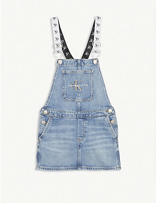 CALVIN KLEIN JEANS: Denim dungarees dress 4-16 years