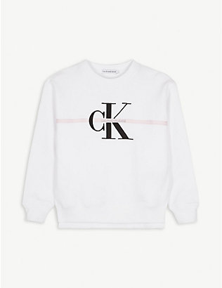 CALVIN KLEIN JEANS: Logo-embroidered cotton-jersey sweatshirt 4-16 years