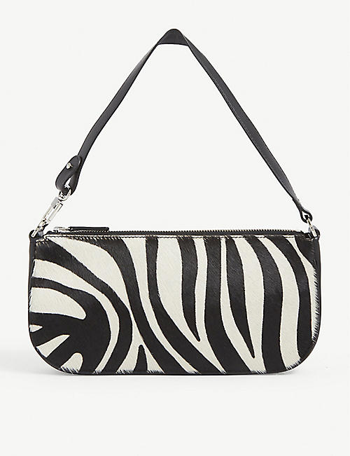 BY FAR: Rachel zebra-print leather shoulder bag