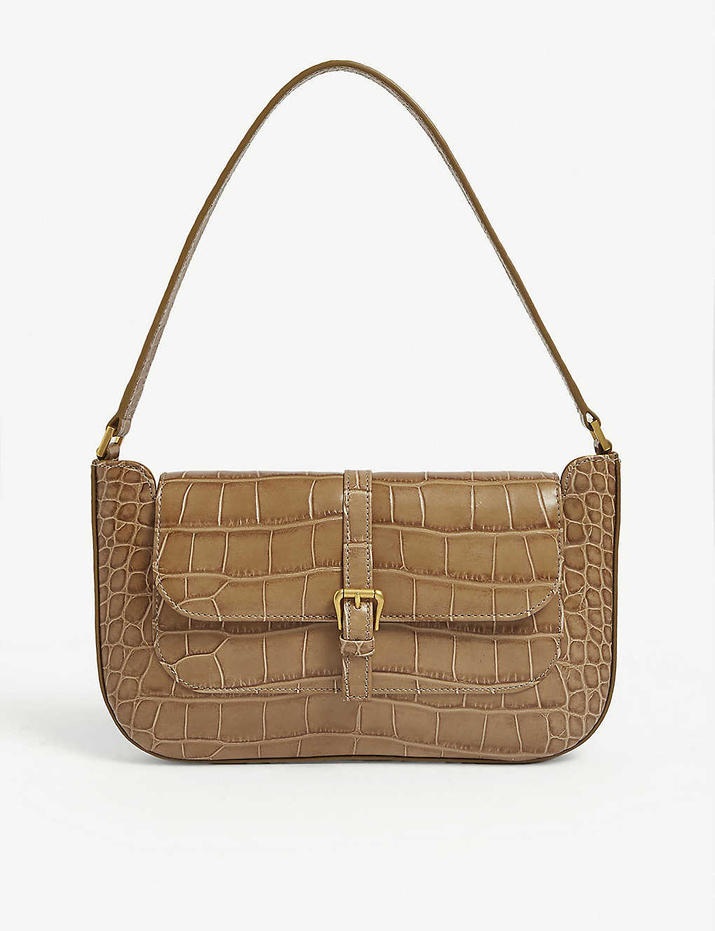 BY FAR: Miranda croc-embossed leather mini shoulder bag
