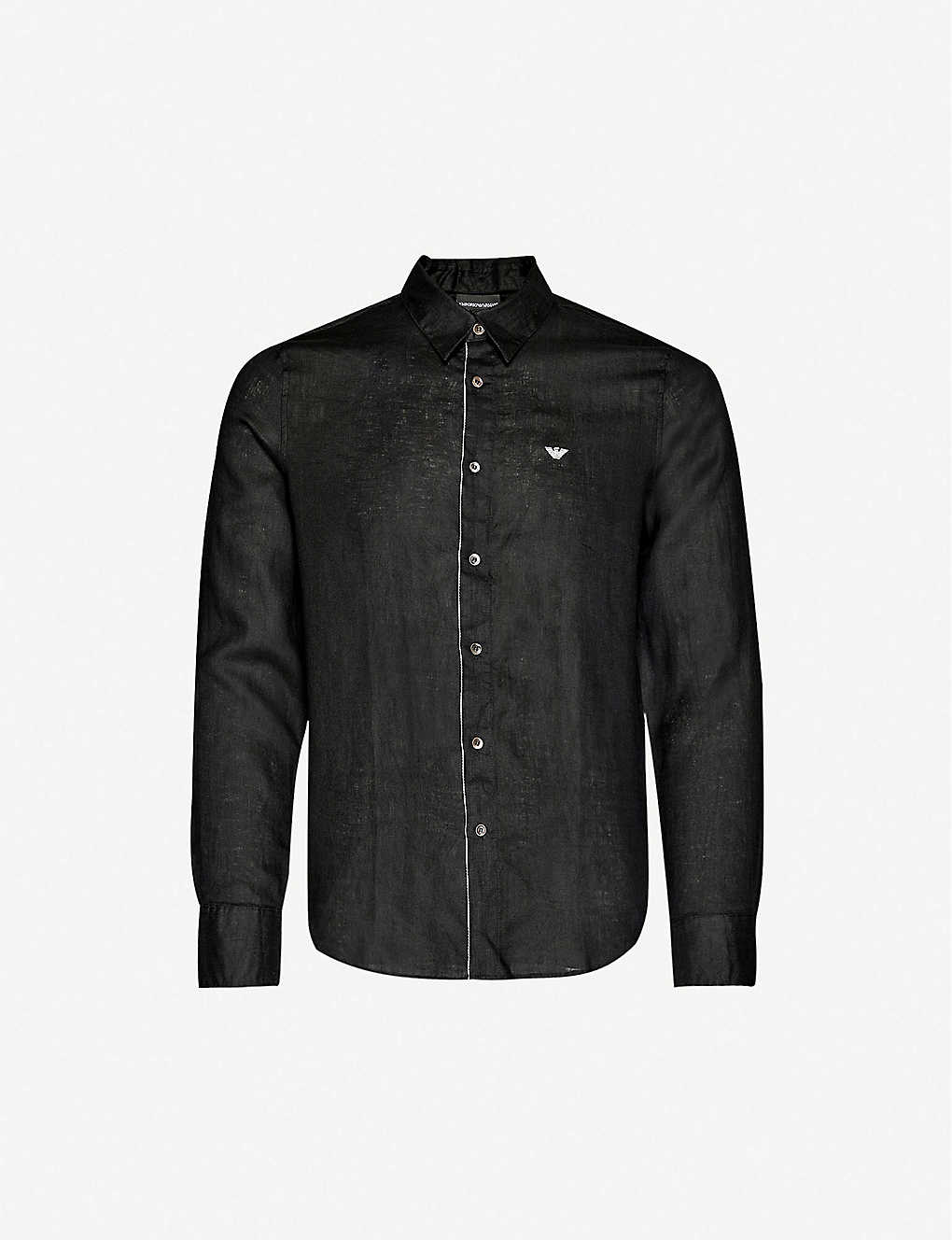 EMPORIO ARMANI: Logo-embroidered regular-fit linen shirt