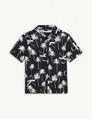 CALVIN KLEIN JEANS: Palm tree-print cotton shirt 4-16 years