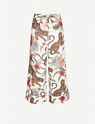 DESMOND AND DEMPSEY: Soleia jungle-print wide-leg cotton pyjama bottoms