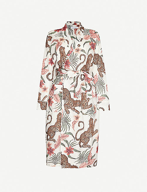 DESMOND AND DEMPSEY: Soleia jungle-print organic cotton dressing gown