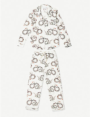 DESMOND AND DEMPSEY: The Kaa snake-print cotton pyjama set
