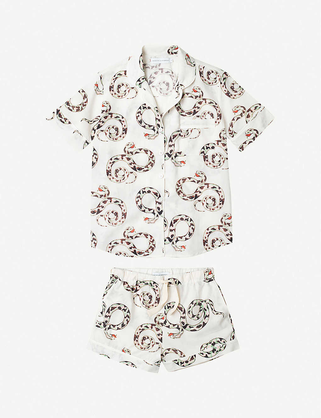 DESMOND AND DEMPSEY: The Kaa snake-print cotton pyjama short set