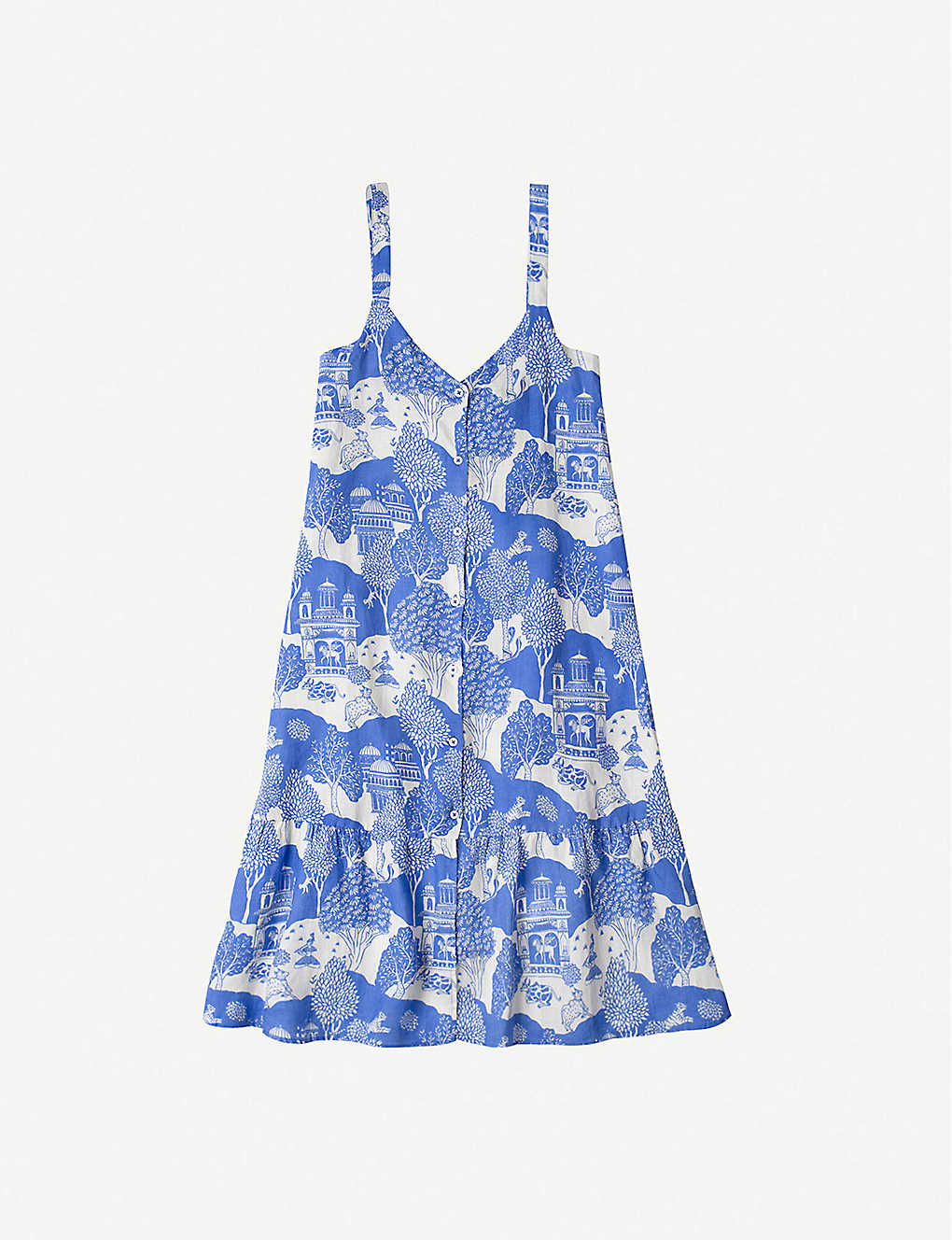 DESMOND AND DEMPSEY: Pahari-print linen night dress
