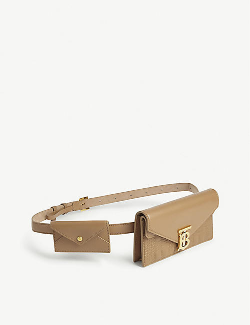 BURBERRY Leather double pouch belt bag