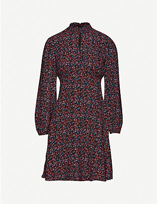 WHISTLES: Floral-print crepe midi dress