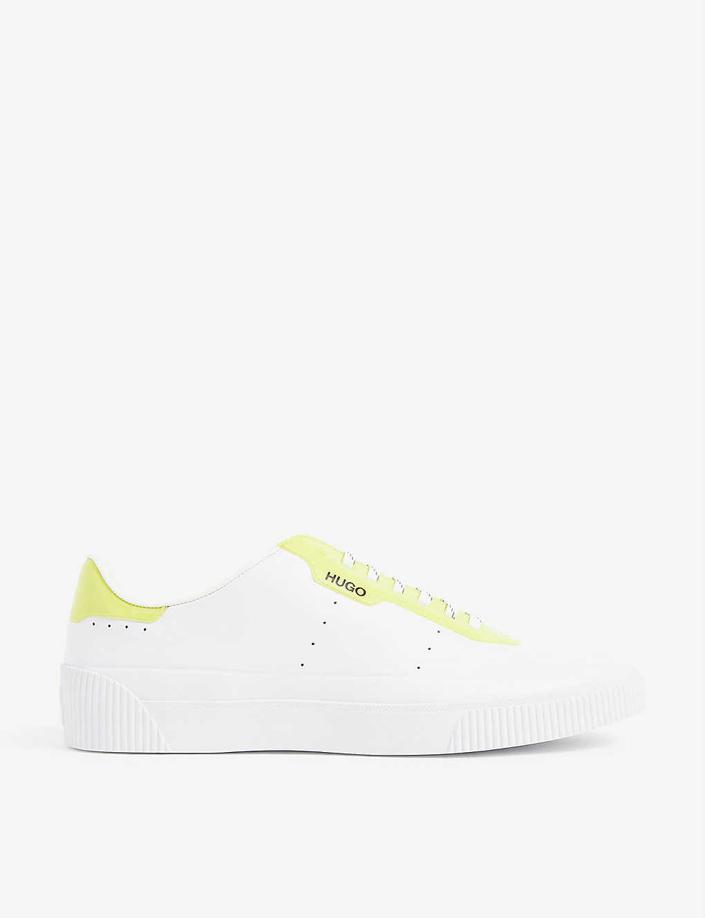 HUGO: Branded coated leather tennis trainers