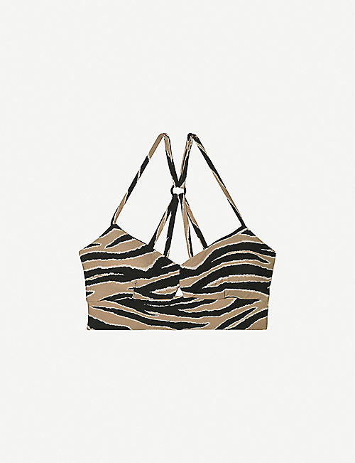 MICHI: Medusa tiger-print stretch-woven sports bra