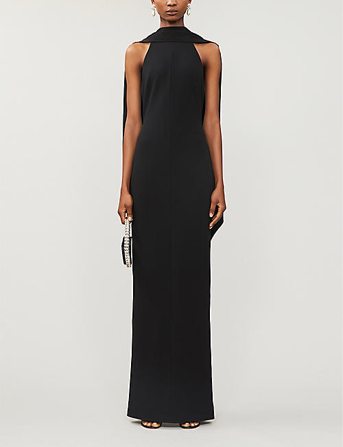 SOLACE LONDON Dahlia halter-neck stretch-woven gown