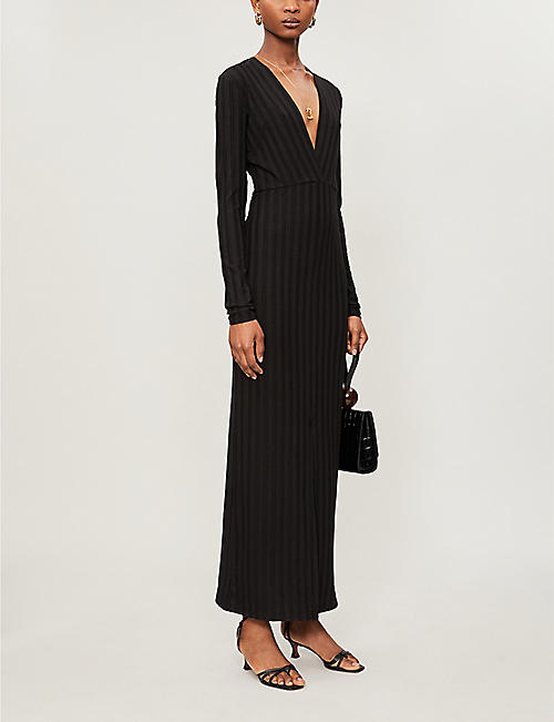 REFORMATION Striped stretch-woven maxi dress