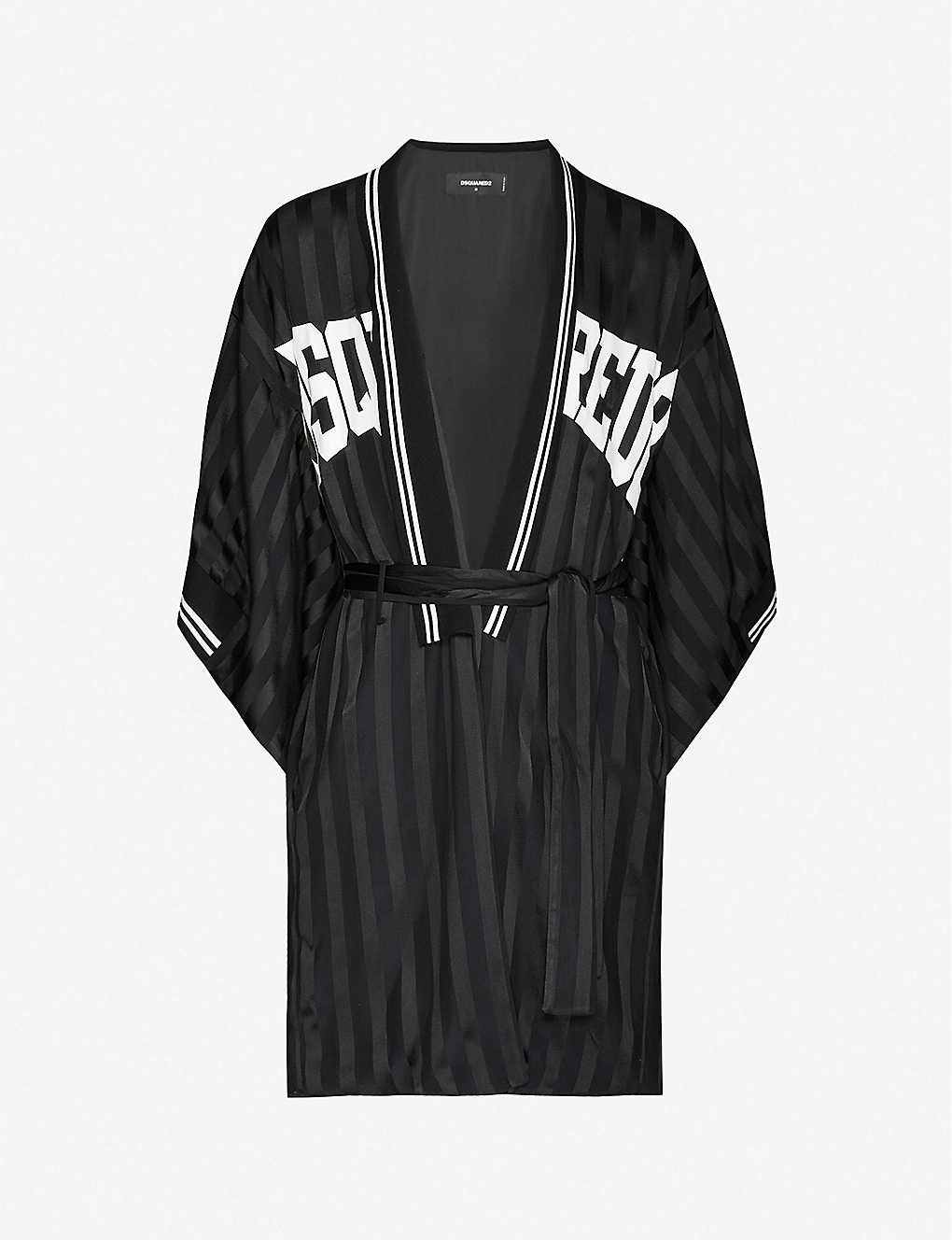 DSQUARED2: Logo-print silk-blend satin robe