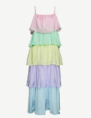 OLIVIA RUBIN Cici tiered silk-satin maxi dress