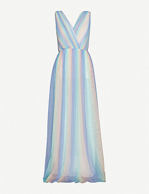 OLIVIA RUBIN: Adelina rainbow striped tulle maxi dress