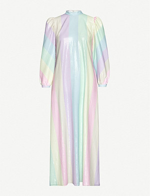 OLIVIA RUBIN Edie striped sequinned maxi dress