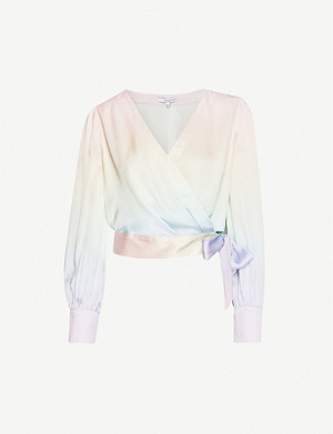OLIVIA RUBIN Abbie rainbow silk-satin top