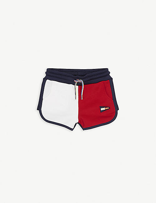 TOMMY HILFIGER: Colour-block cotton-blend shorts 4-16 years
