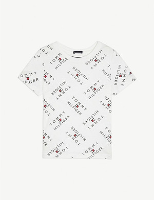 TOMMY HILFIGER Logo-printed cotton T-shirt 4-16 years