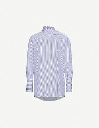 VICTORIA VICTORIA BECKHAM: Striped cotton-poplin shirt