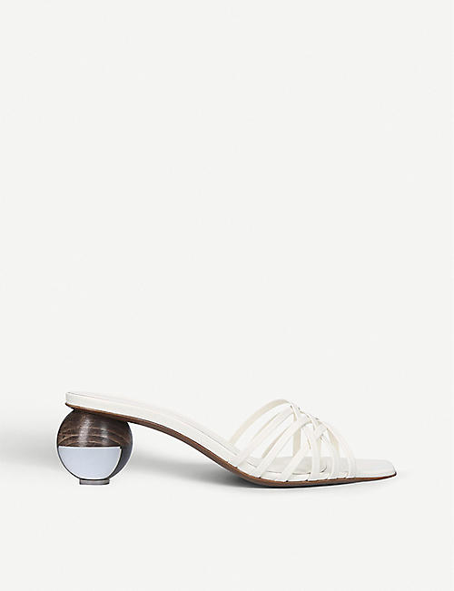 NEOUS: Calpa leather spherical-heeled sandals