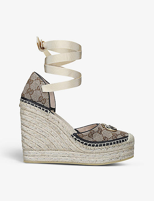 GUCCI: Pilar canvas esperadrille wedges