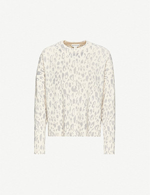 WHISTLES Freida animal-print merino wool jumper