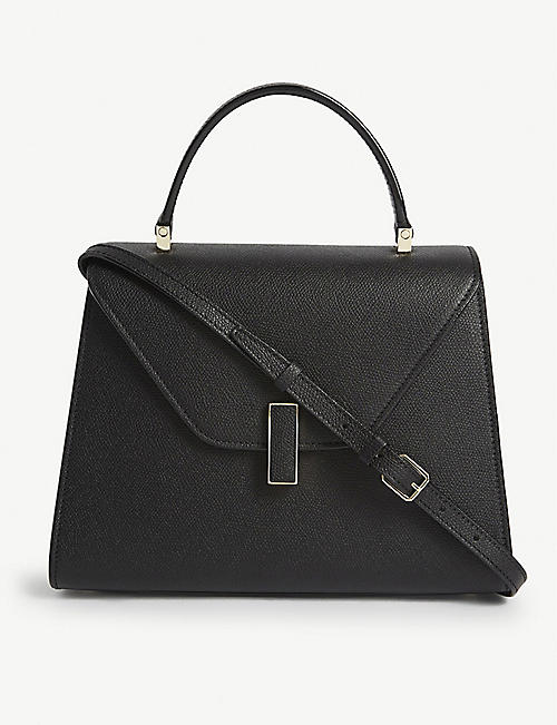 VALEXTRA: Isdie medium grained leather crossbody bag