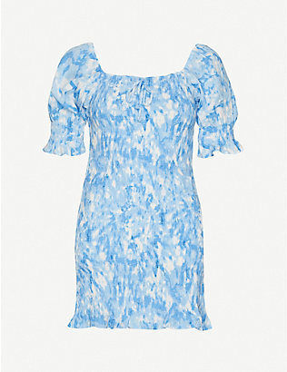 FAITHFULL THE BRAND: Magnolia abstract-print rayon mini dress