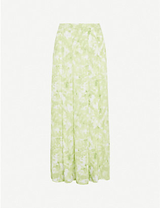 FAITHFULL THE BRAND: Cuesta tie-dye crepe midi skirt