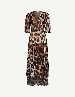 GANNI: Leopard-print stretch-woven midi dress
