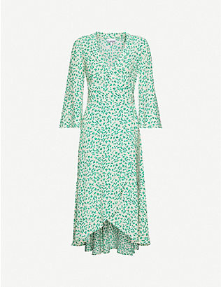 GANNI: Leaf-print woven midi dress