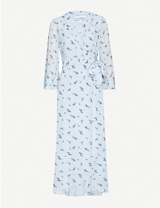 GANNI: Graphic-print georgette maxi wrap dress