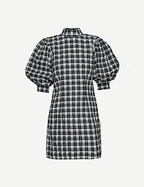 GANNI Gingham puffed-sleeve cotton-blend mini dress