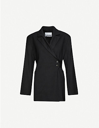 GANNI: Single-breasted loose-fit wool blazer