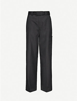 GANNI: Wide-leg high-rise wool trousers