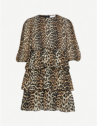 GANNI: Leopard-print georgette mini dress