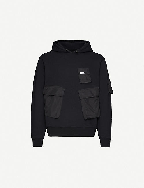 STUSSY Cargo pocket-embellished cotton-jersey hoody