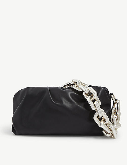 BOTTEGA VENETA: The Pouch chained leather shoulder bag