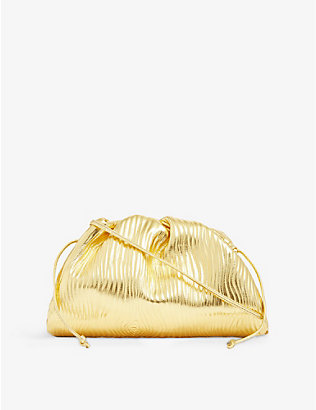 BOTTEGA VENETA: Pouch drawstring metallic leather clutch bag