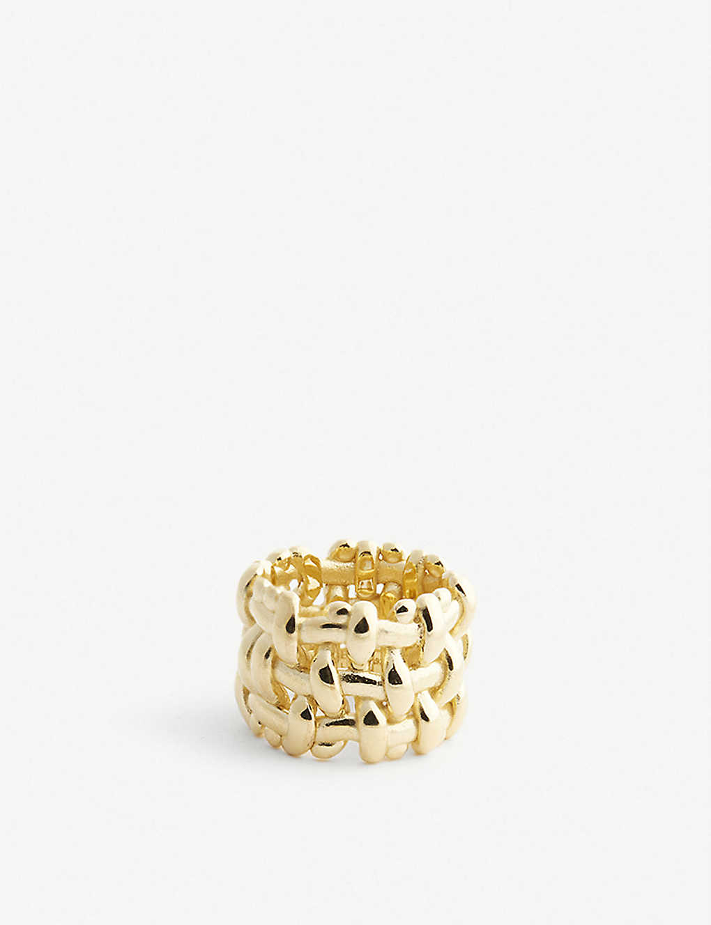 BOTTEGA VENETA: Intrecciato gold-plated ring