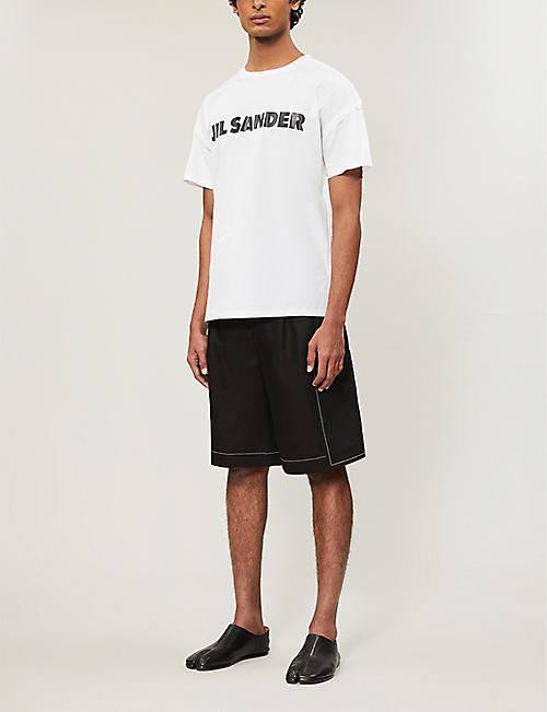JIL SANDER Logo-print cotton-poplin and cotton-jersey T-shirt