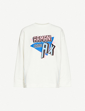 ARMANI EXCHANGE Colourpop logo-print cotton-blend jersey sweatshirt