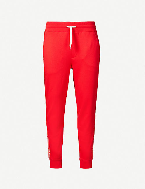 HUGO: Side-stripe cotton-jersey jogging bottoms