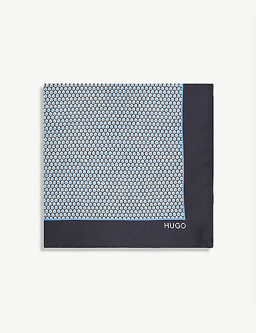 HUGO: Graphic-print branded silk pocket square
