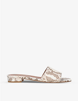 PARIS TEXAS: Ciabattina snakeskin-embossed leather sandals