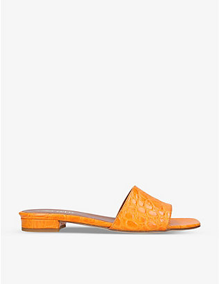 PARIS TEXAS: Ciabattina crocodile-embossed leather sandals